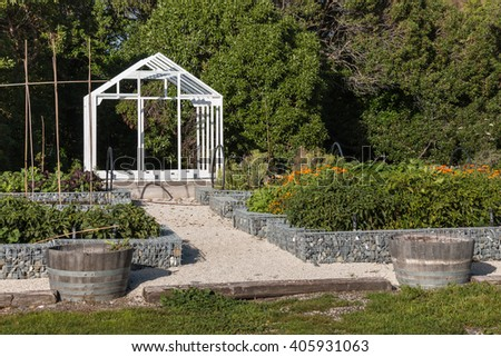 vegetable garden with  greenhouse