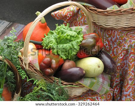 Vegetable harvest in a basket, still life - stock photo
