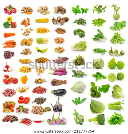 vegetable, herb, spices isolated on white background - stock photo