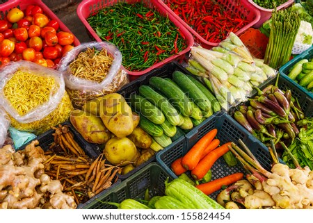 Vegetable in market stall - stock photo