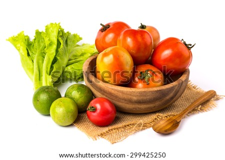 vegetable in wooden bowl on a white background - stock photo