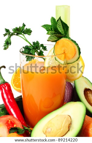 Vegetable juice and different vegetables close-up isolated on white