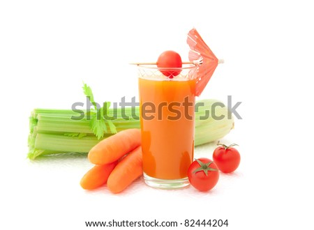 Vegetable juice and fresh vegetables - stock photo