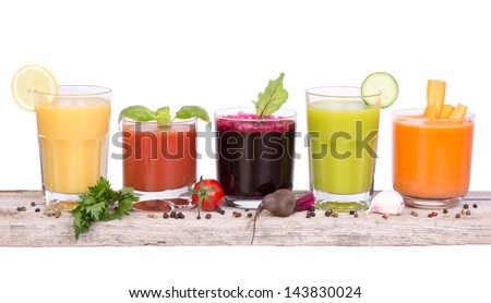 Vegetable juice variety - stock photo
