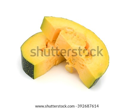 Vegetable marrow squash with flower and green leaves isolated on a white