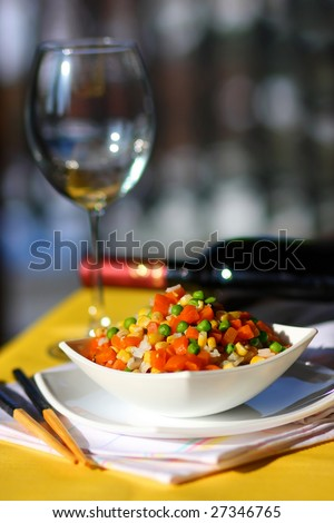 Vegetable mix and wine