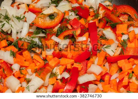 Vegetable mixture in skillet - stock photo