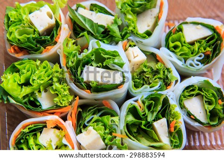 Vegetable noodle rolls to healthy food. - stock photo