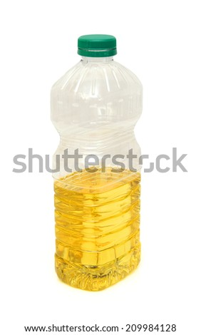 vegetable oil in a plastic bottle isolated on white background  - stock photo