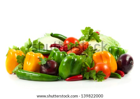 vegetable on isolated white  background