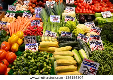 vegetable on sale in a local market in seattle - stock photo