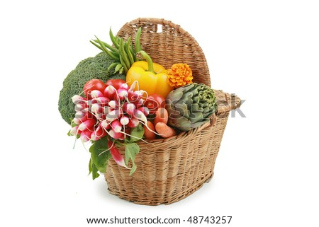 vegetable on wicker basket - stock photo