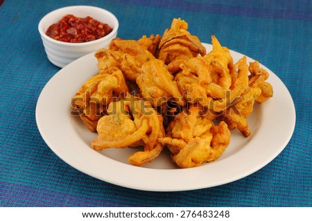 Vegetable Pakora or Onion Bhajis snack of Pakistani & Indian Peoples  - stock photo