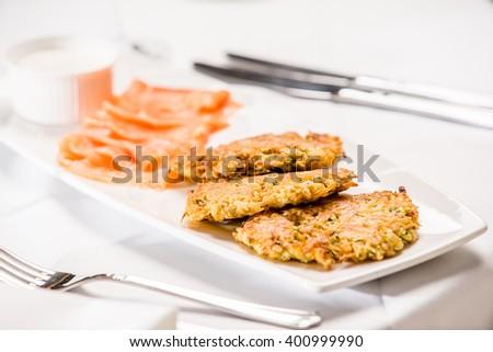 vegetable pancake with salmon - stock photo