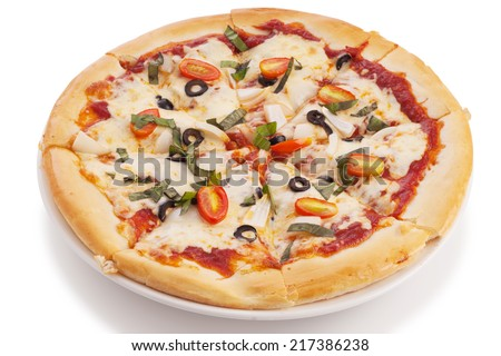 vegetable pizza isolated on white with clipping paths.