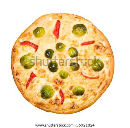 vegetable pizza with brussels sprouts.isolated on white background.clipping Path