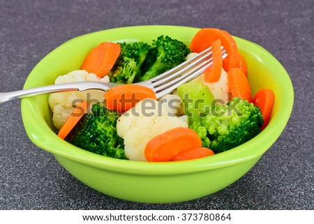 Vegetable Plate: Broccoli and Carrots. Diet Fitness Nutrition. Studio Photo