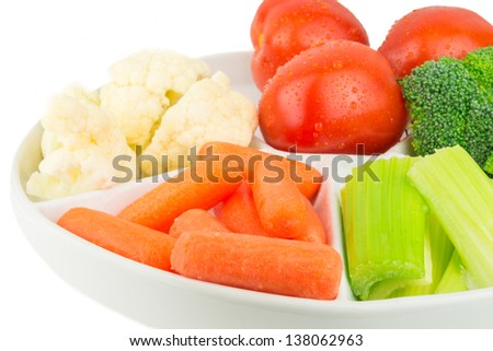 Vegetable platter on a white background