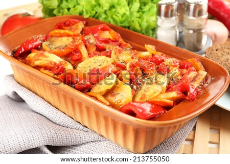 Vegetable ragout on table, close-up - stock photo