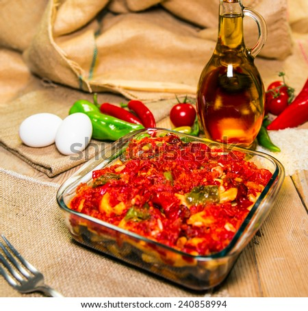 Vegetable ragout with tomato sauce (turkish name is saksuka) - stock photo