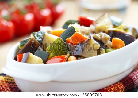vegetable ratatouille on wooden table
