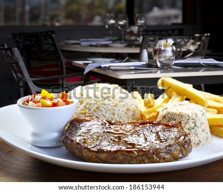vegetable, roast beef and mashed potatoes - stock photo