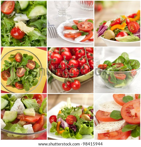 vegetable salad collage made from nine photographs - stock photo