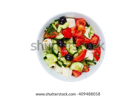 vegetable salad in a plate on a white background