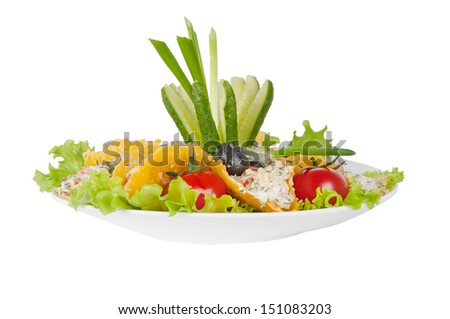 vegetable salad in cheese chips on a white background