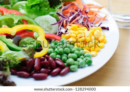 vegetable salad on table - stock photo