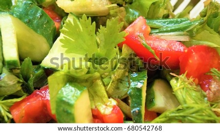 Vegetable salad texture close up. Tomato, cucumbers, greenery, olive oil mix ...