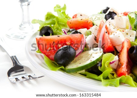 Vegetable salad with cheese