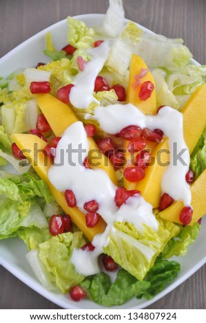 Vegetable Salad with Mango and Pomegranate