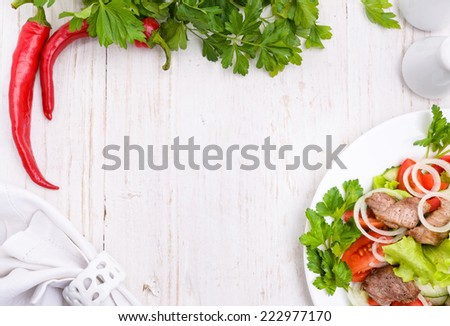 Vegetable salad with meat.  - stock photo