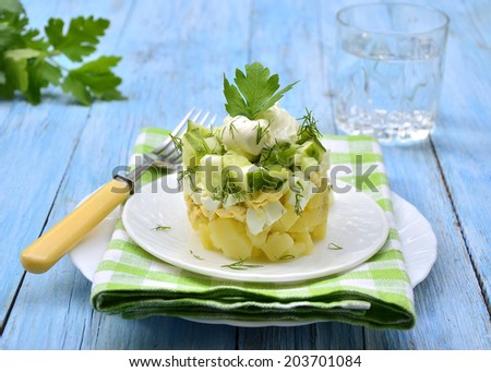 Vegetable salad with potatoes,eggs and cucumber on a white plate.