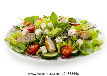 Vegetable salad with roasted chicken meat - stock photo