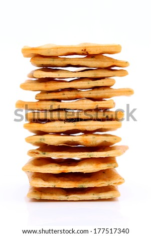 Vegetable salty crackers isolated on white background - stock photo