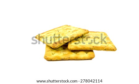 Vegetable salty crackers on white background. - stock photo