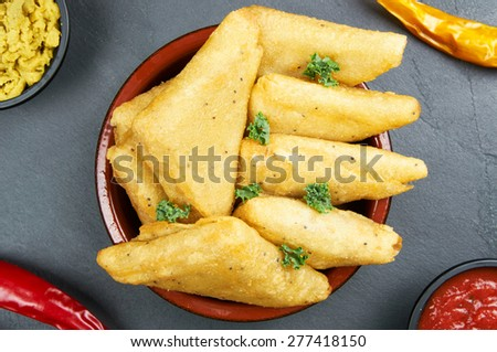 Vegetable samosas with spices - stock photo