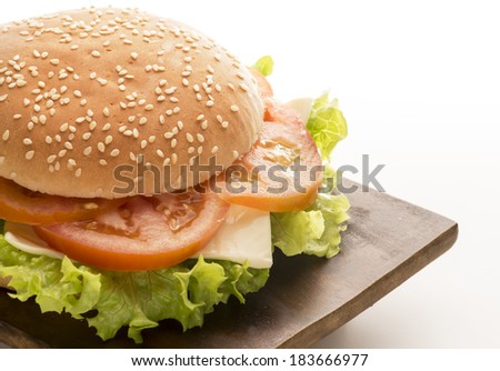vegetable sandwich isolated on white background