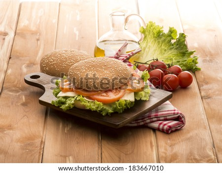 vegetable sandwich on the wooden table - stock photo