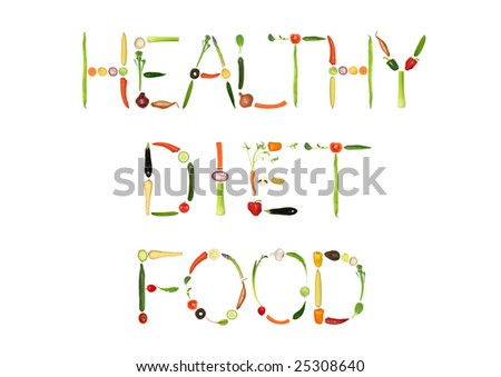 Vegetable selection spelling the words healthy diet food, over white background. - stock photo