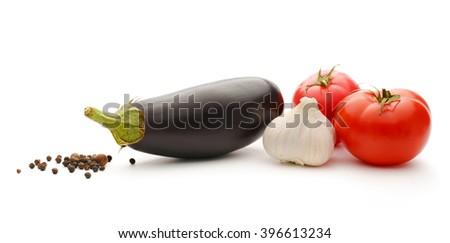 Vegetable set of tomatoes, pepper, garlic and eggplants - stock photo