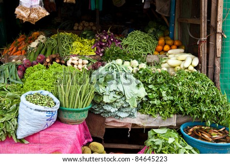 vegetable shop in sri lanka - stock photo