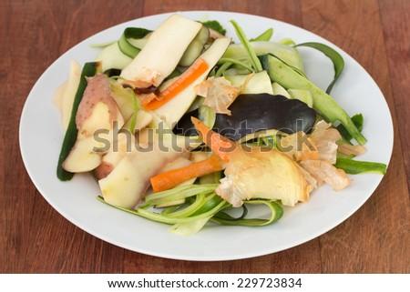 vegetable skin in plate - stock photo