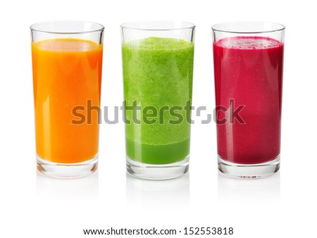 Vegetable smoothie from cucumber, beet and carrot isolated on white - stock photo