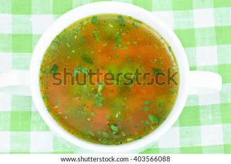 Vegetable Soup, Chicken Diet Bouillon. Studio Photo. - stock photo