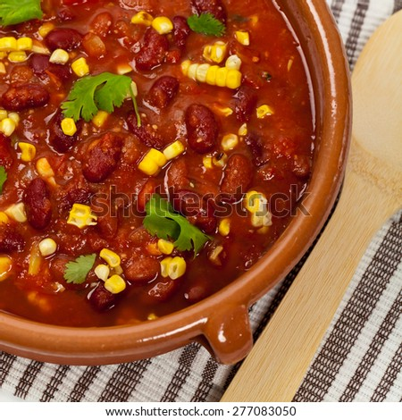 Vegetable Soup Chili. Selective focus. - stock photo