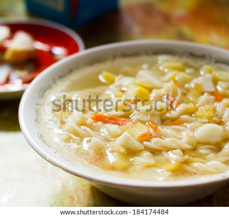 Vegetable soup in a bowl - stock photo