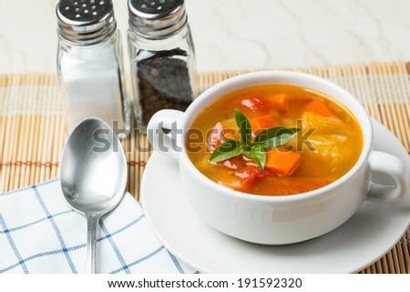 Vegetable soup made from tomato potato and carrot